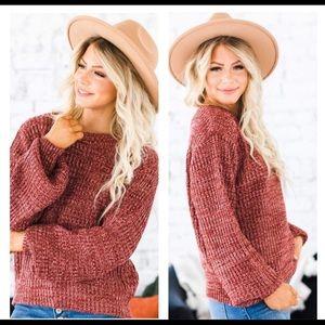 Rust Chenille Crew Neck Knit Sweater